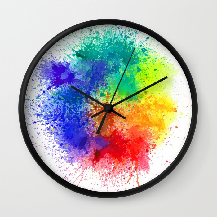 Holi Wall Clock - Black Frame and Hands