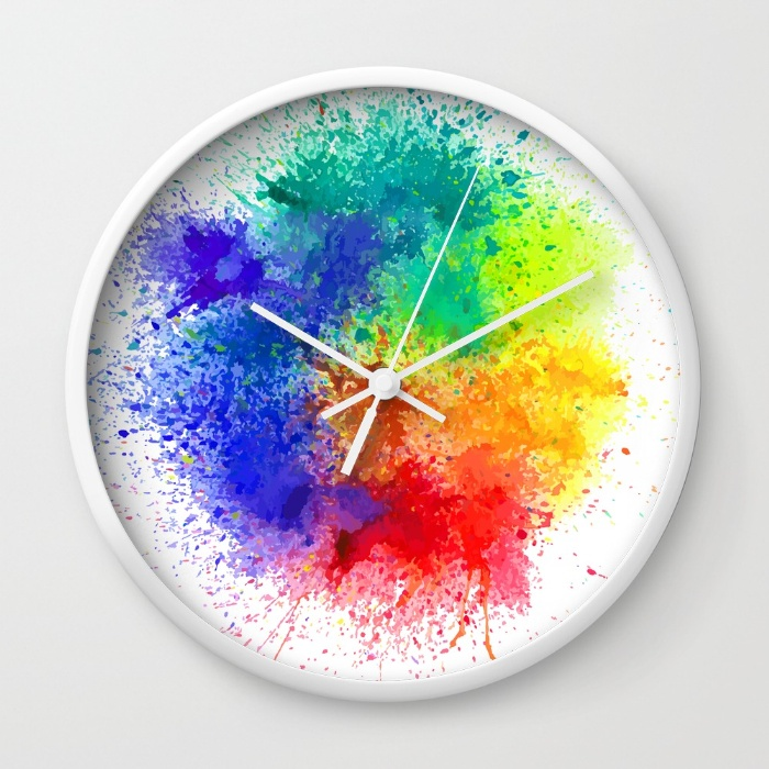 Holi Wall Clock - White Frame and Hands