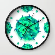green flower gem clock