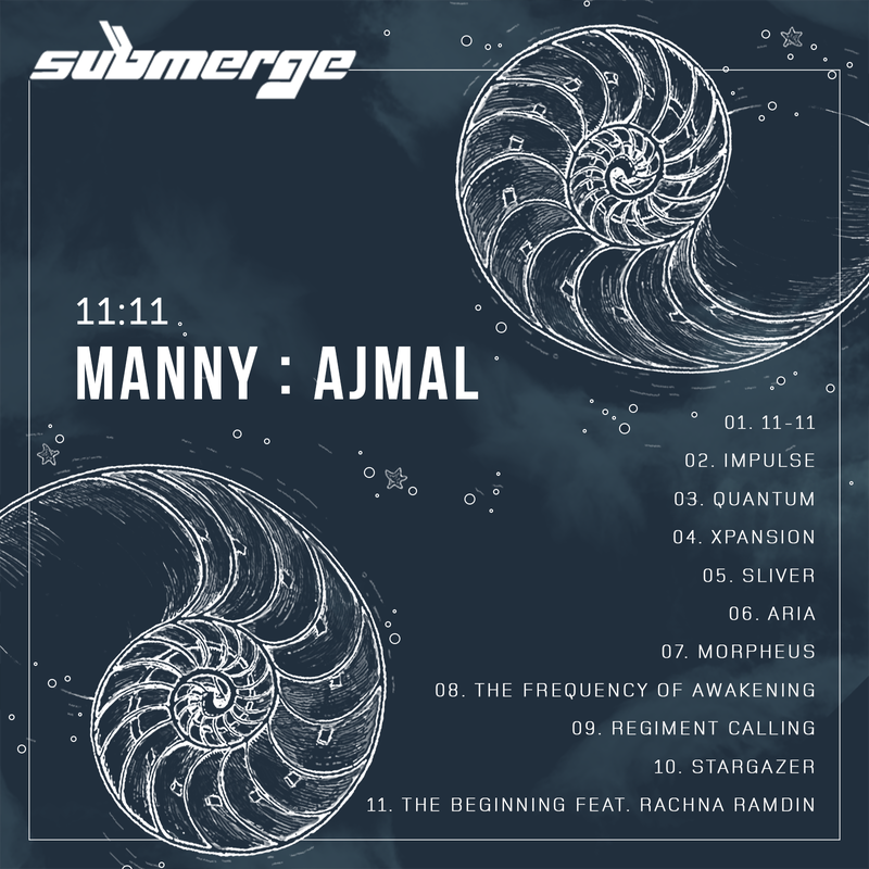 Manny Ajmal, 11:11, with track Info back cover designed by DezignerDude