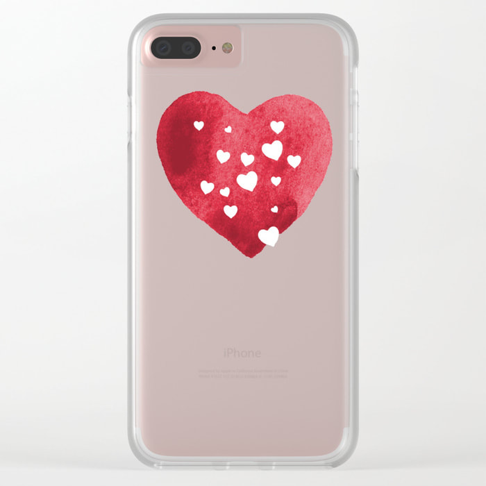 Red Hearts Clear Case